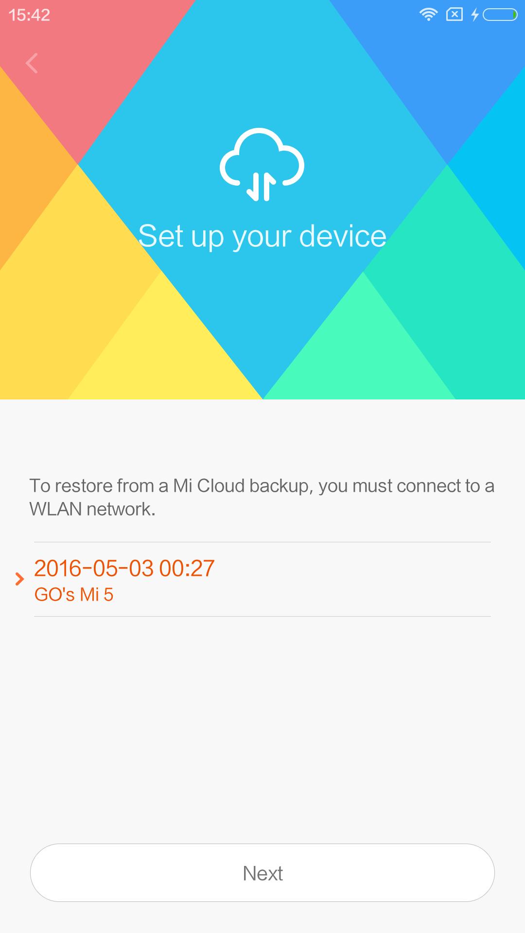 Mi5のバックアップをダウンロードするみたい