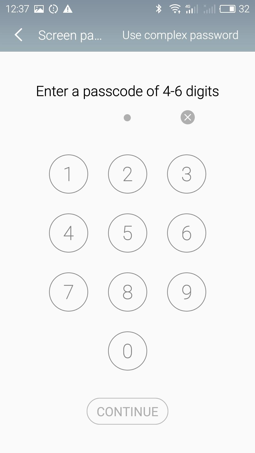 4~6のパスコードを設定
