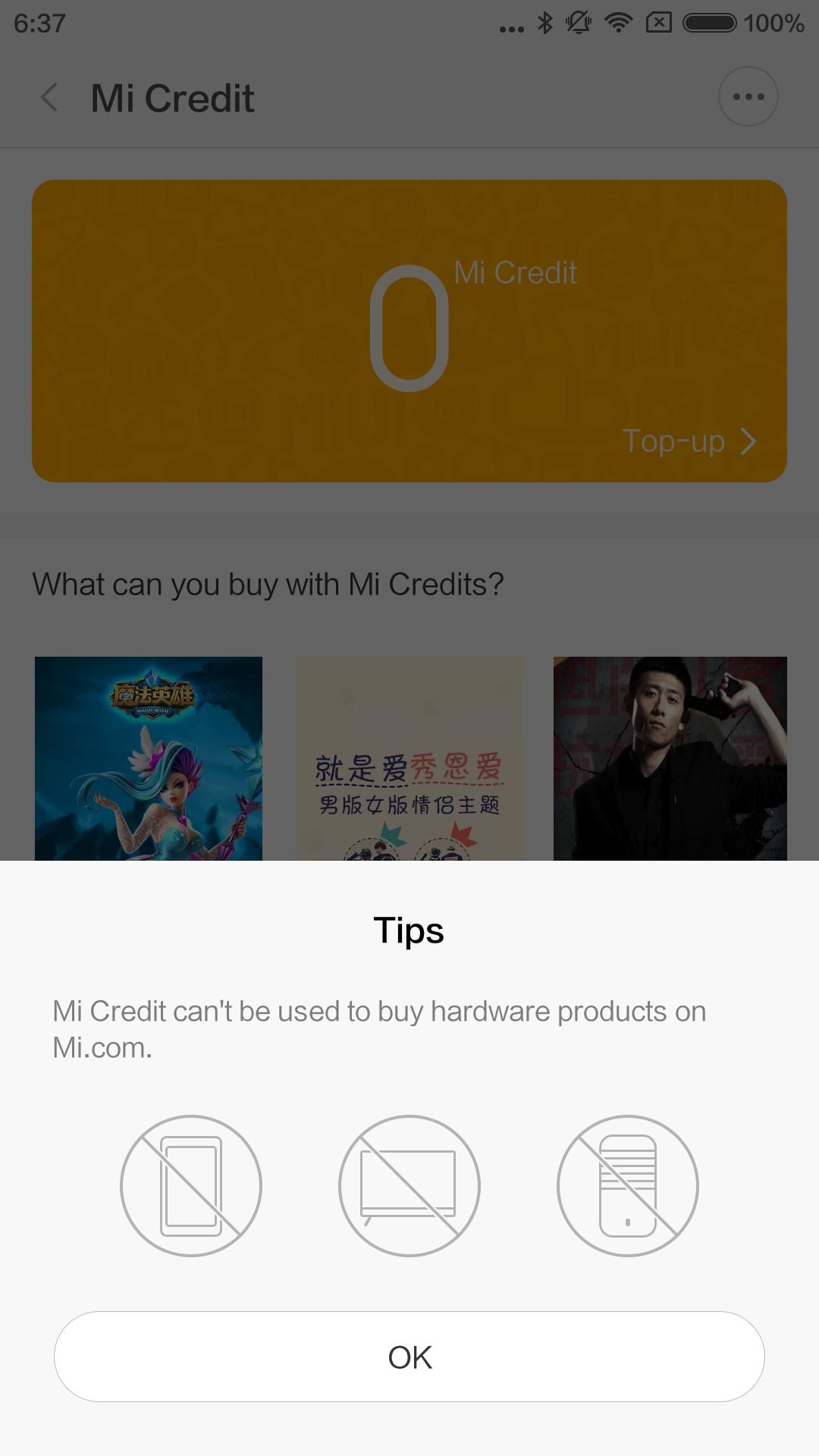Mi Creditsではハードウェア(スマホやガジェットなど)は買えません、と出る。