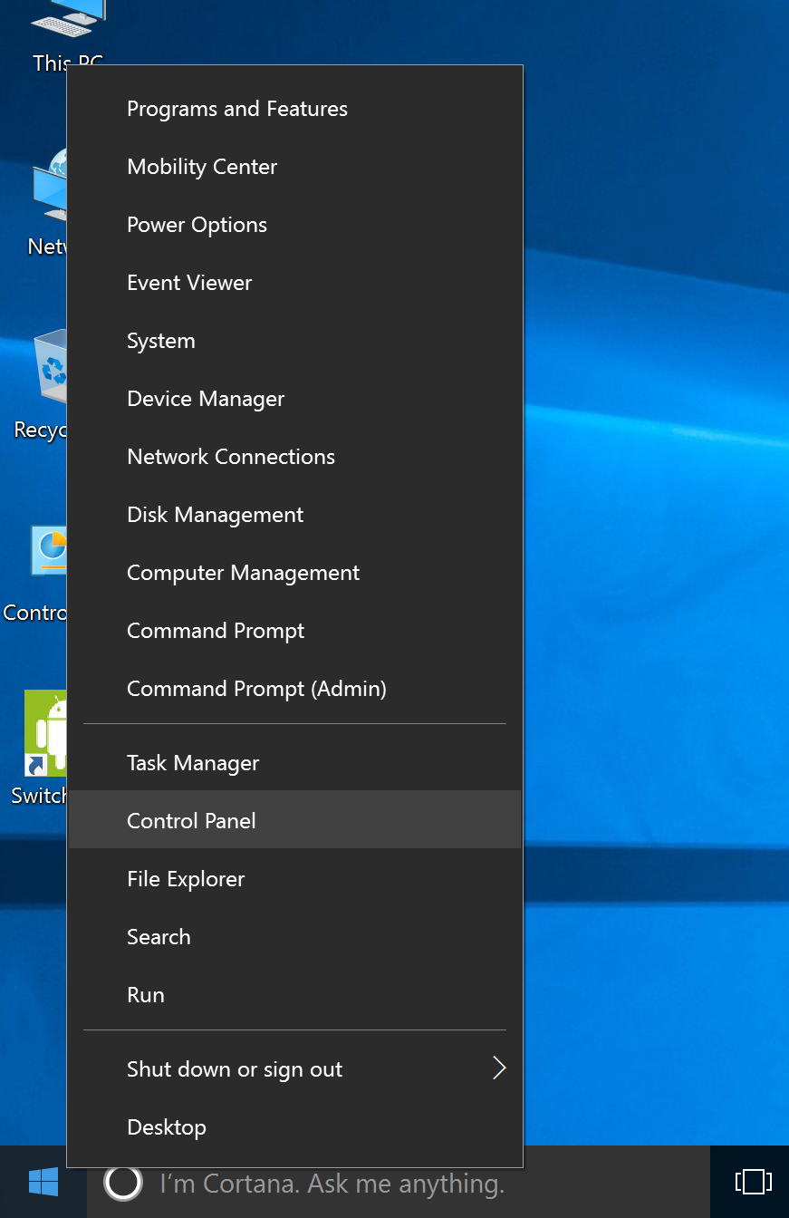 Windowsアイコンを左クリックしてControl Panelを選択