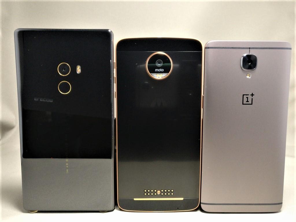 OnePlus 3T Xiaomi Mi MIX・Motorola Moto Z 裏面比較