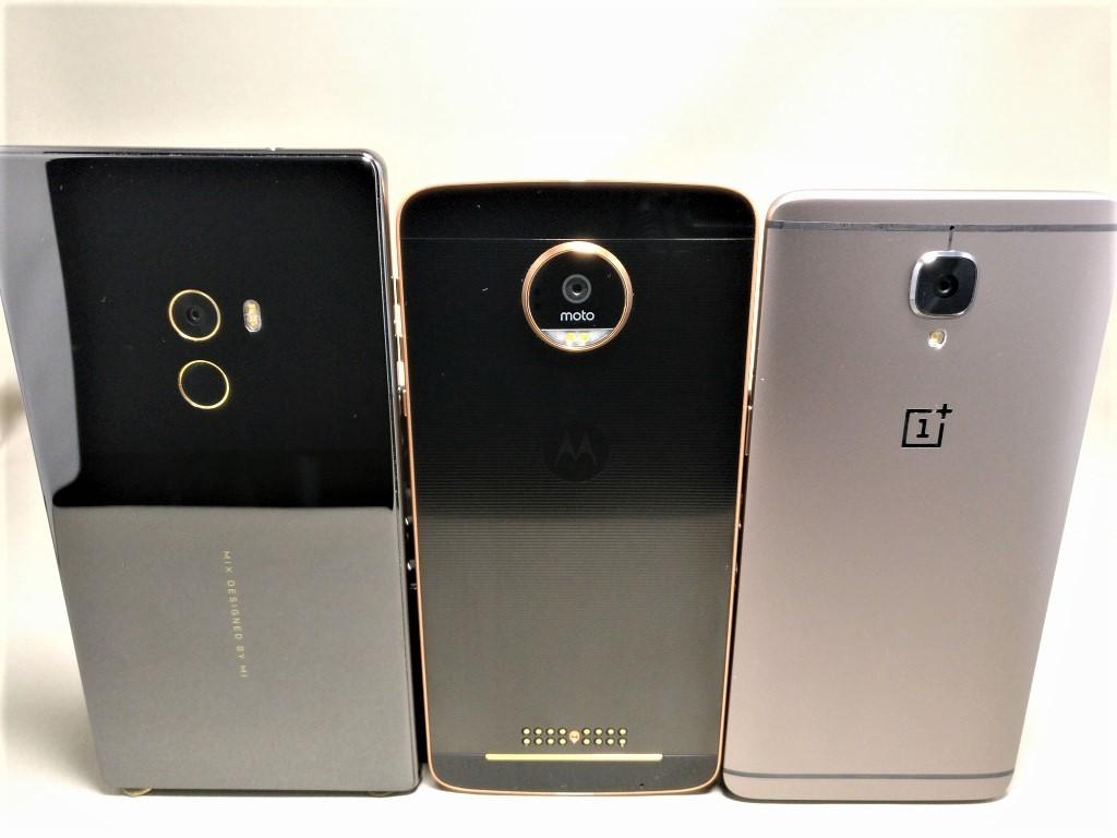 OnePlus 3T Xiaomi Mi MIX・Motorola Moto Z 裏面 少し上から