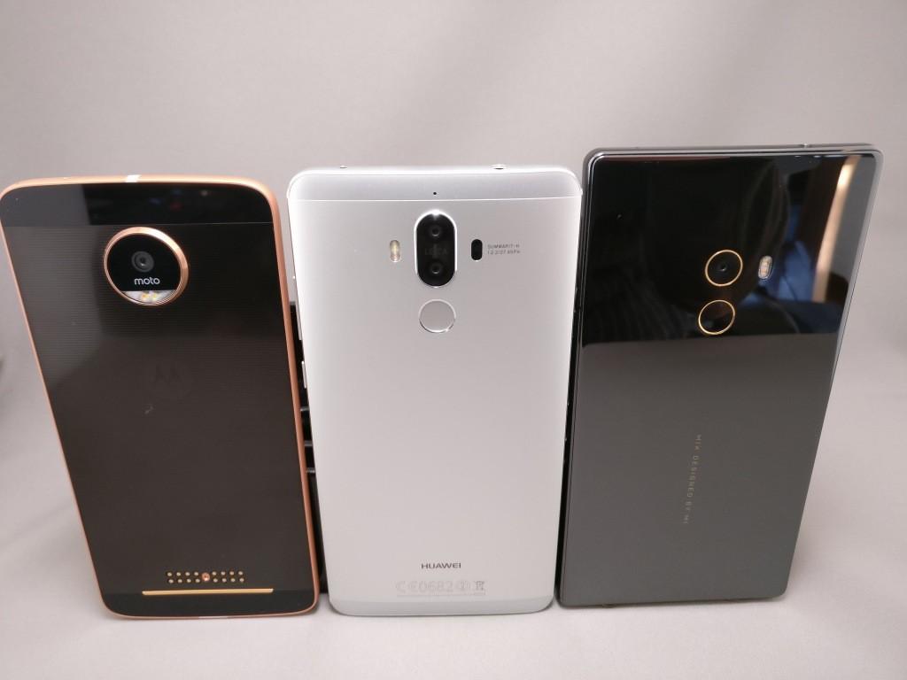 Huawei mate 9・Moto Z・Mi MIX 裏面比較 ズーム