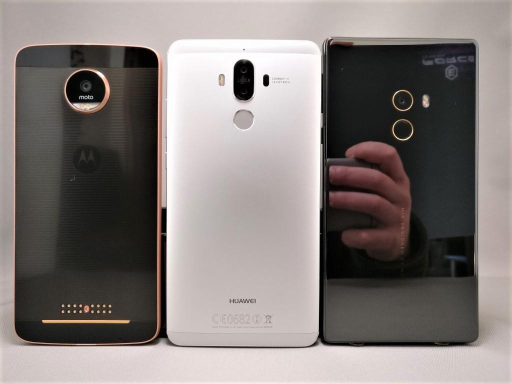Huawei mate 9・Moto Z・Mi MIX 裏面比較