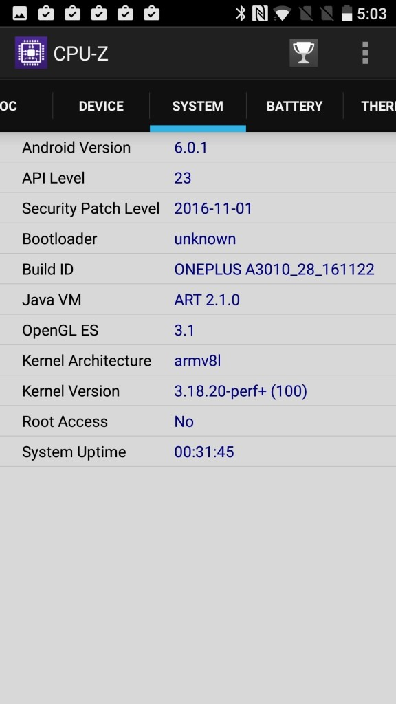 OnePlus 3T CPU-Z SYSTEM Build ID ONEPLUS A3010_28_161122