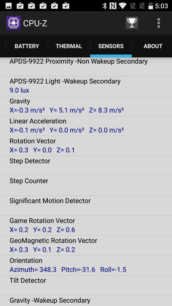 OnePlus 3T CPU-Z SENSORS 2