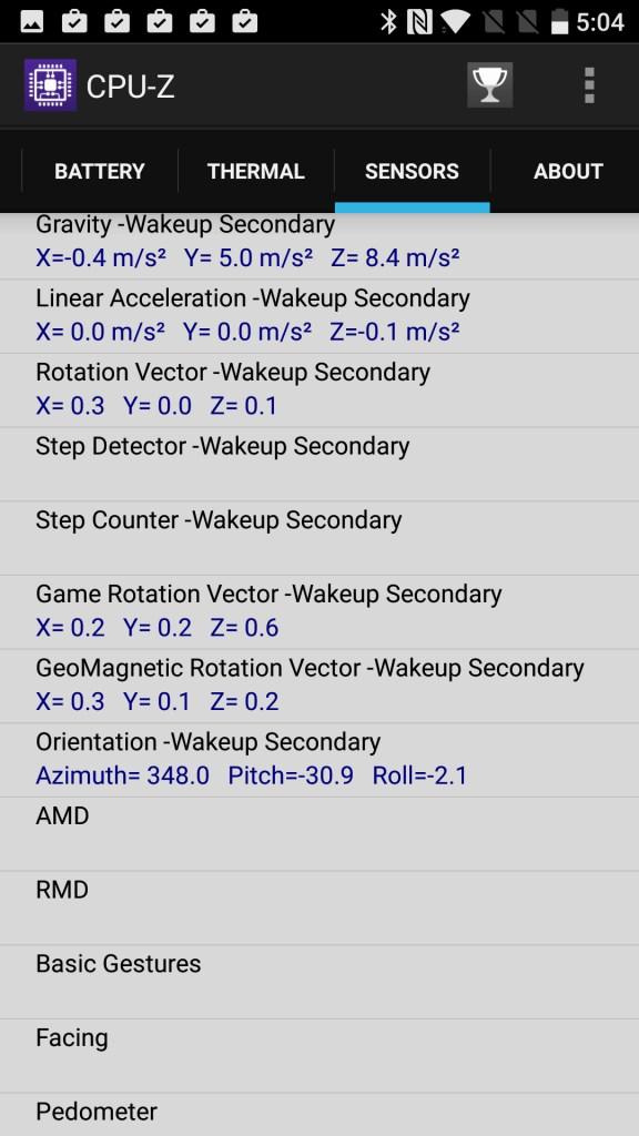 OnePlus 3T CPU-Z SENSORS 3