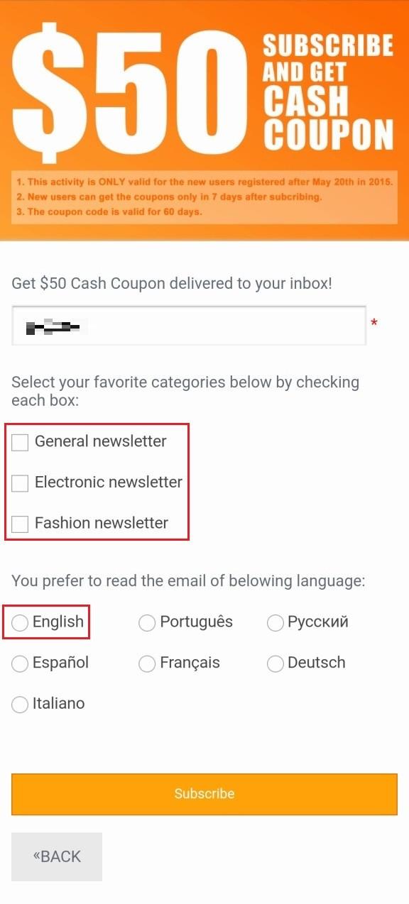 ニュースレターは最低でも1つチェックを入れる、言語は日本語無いのでEnglish選択