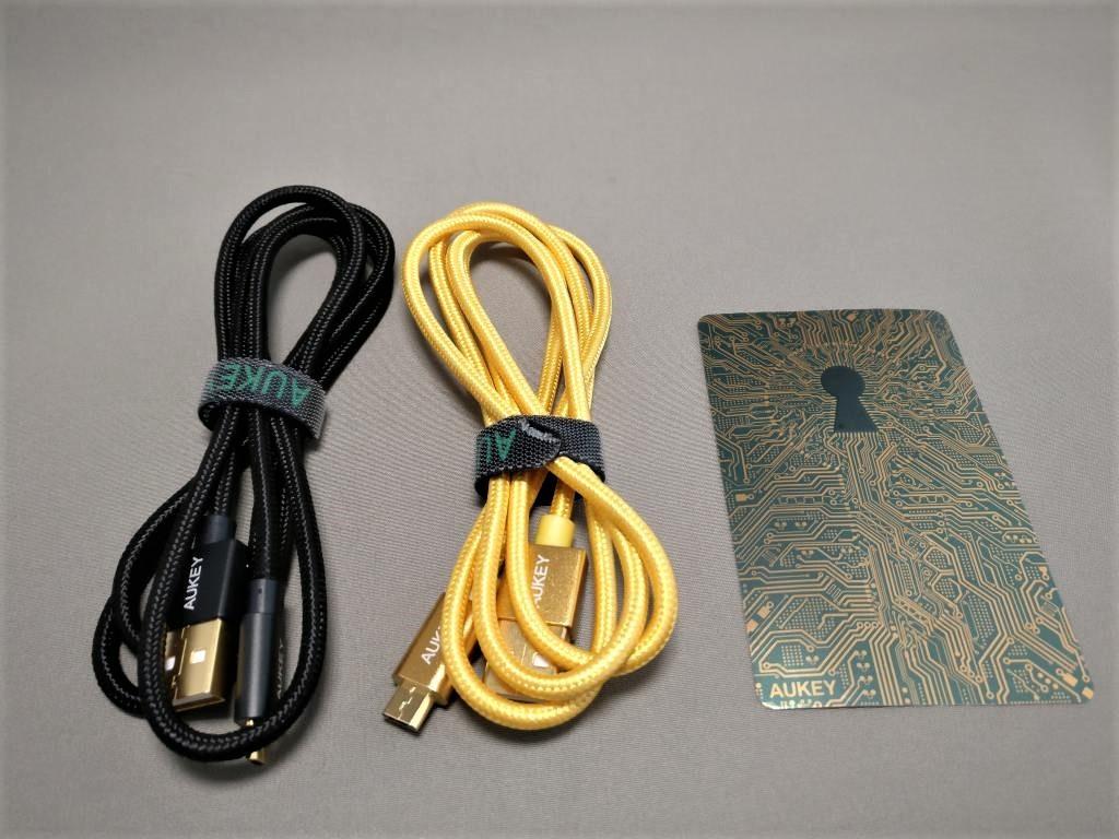 microusb ケーブル 2本セット ゴールド&ブラック