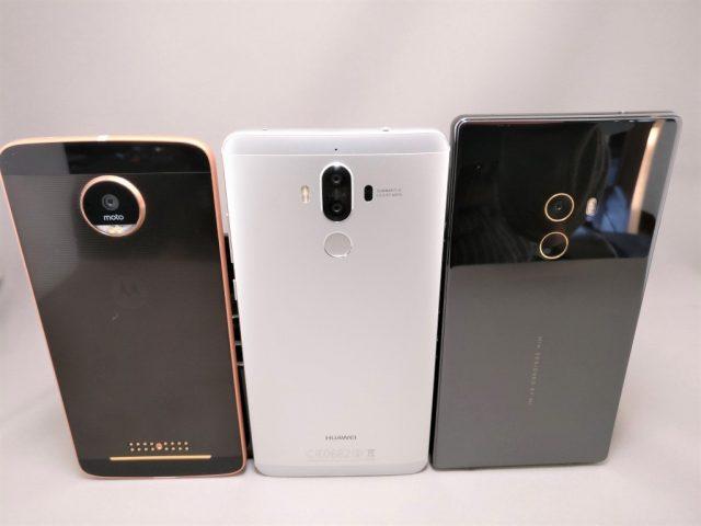 Huawei P9 Moto Z Mi MIX サイズ感 上から