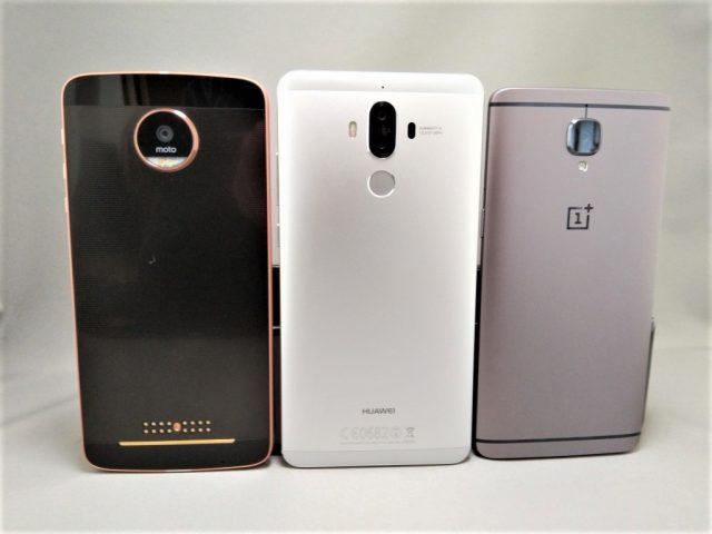 Huawei P9 Moto Z OnePlus 3T サイズ感