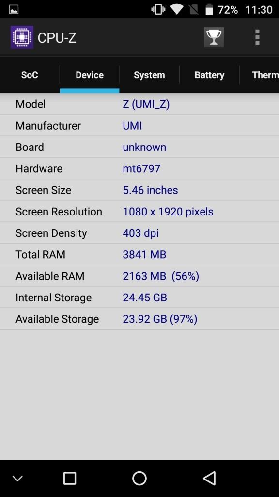 UMI Z CPU-Z Device
