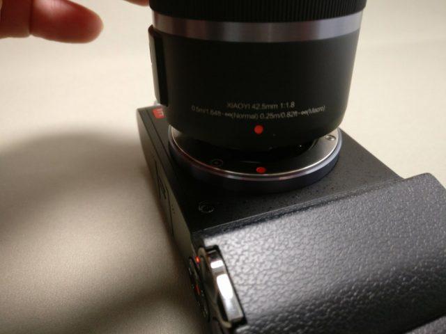 Xiaomi Yi Digital Camera M1 レンズ装着 赤点をあわせて