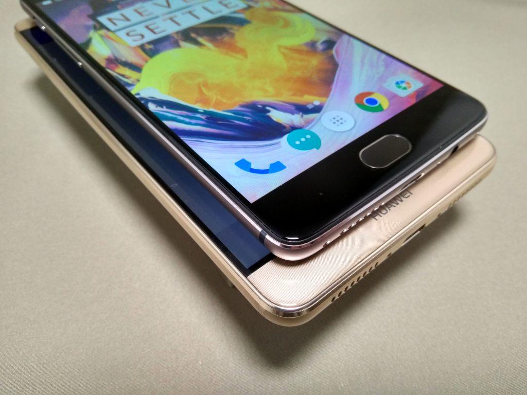 OnePlus 3TとHuawei Mate9 ディスプレイの表示されない部分 斜めから