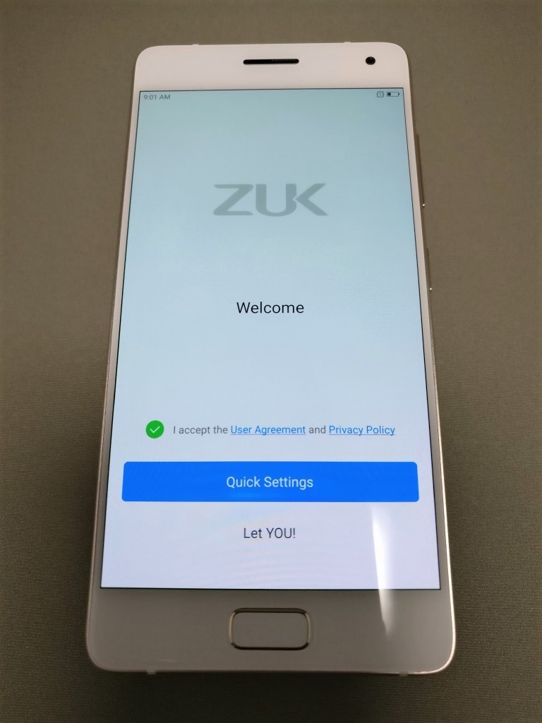 Lenovo ZUK Z2 Pro 起動 ZUK初期設定
