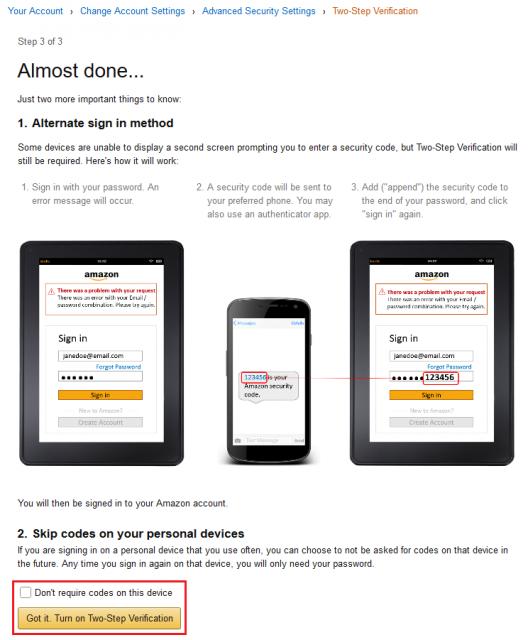 Amazon.com 2段階認証 Almost done...
