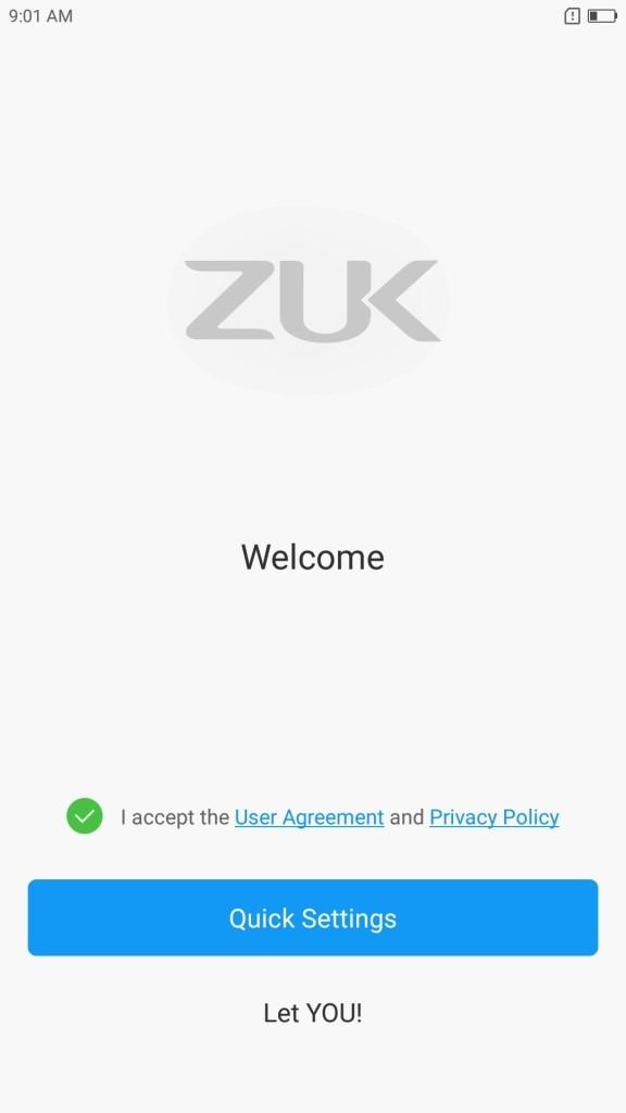 Lenovo ZUK Z2 Pro 初期設定 Welcome