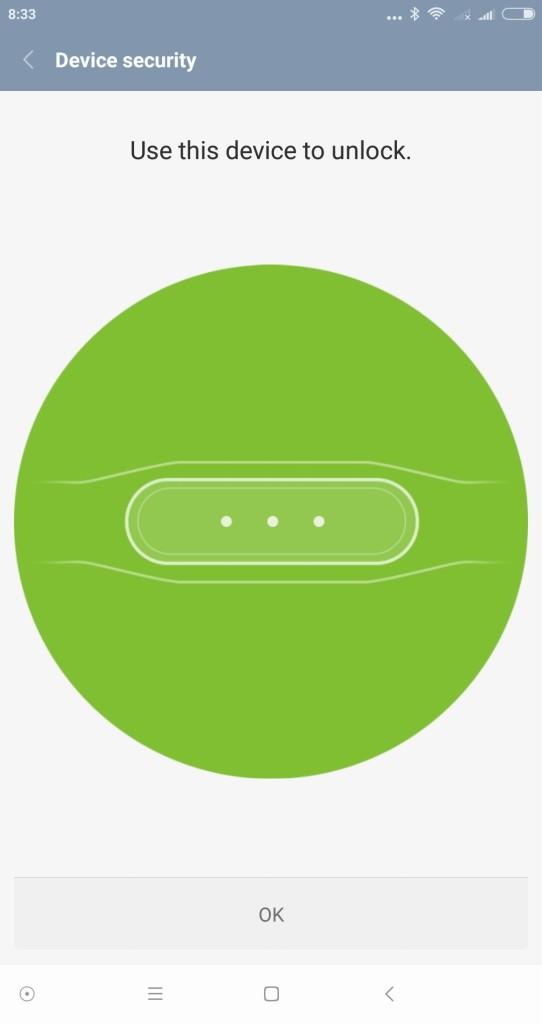Xiaomi Mi MIX の Smart Lock設定 Mi Band2 信頼できる端末を追加完了