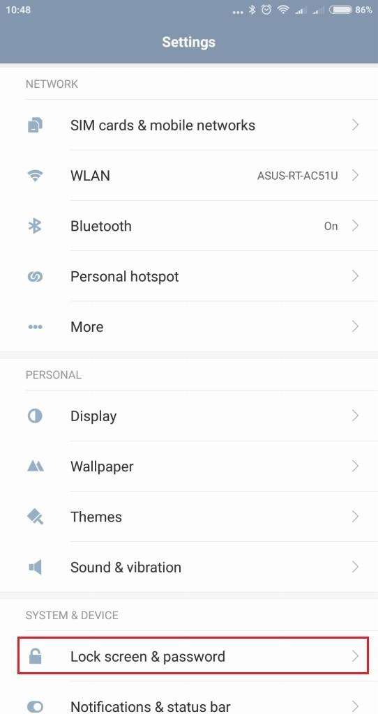 Xiaomi Mi MIX 指紋認証設定 Lock screen & password