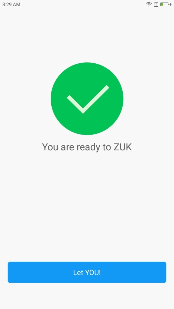 Lenovo ZUK Z2 Pro 初期設定 完了