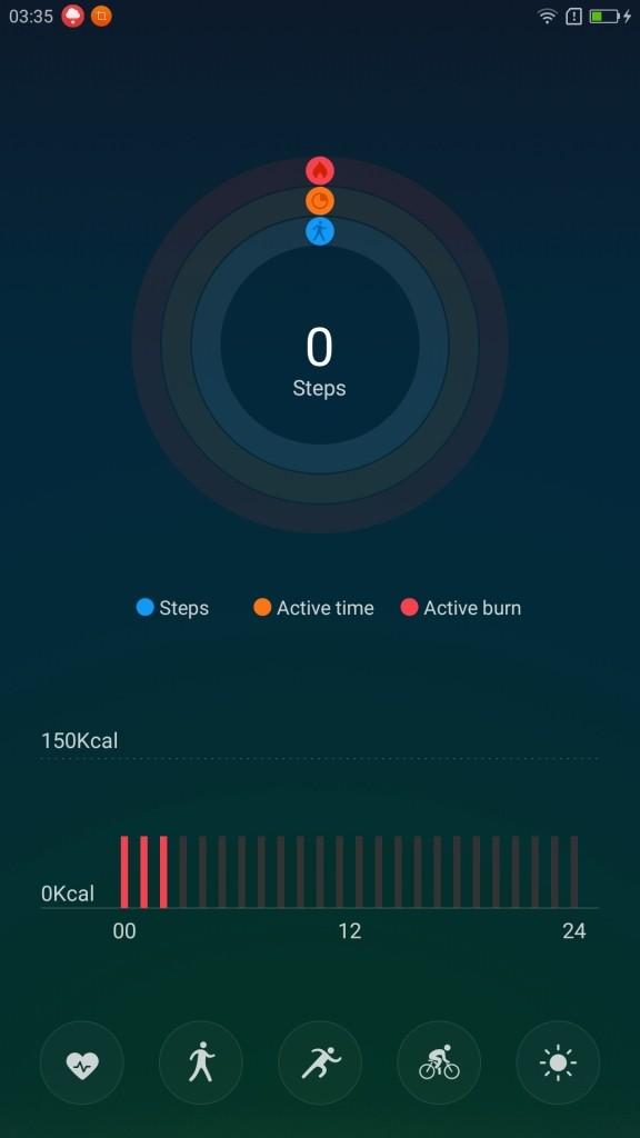 Lenovo ZUK Z2 Pro U Health ヘルスアプリ ホーム画面 左の表示