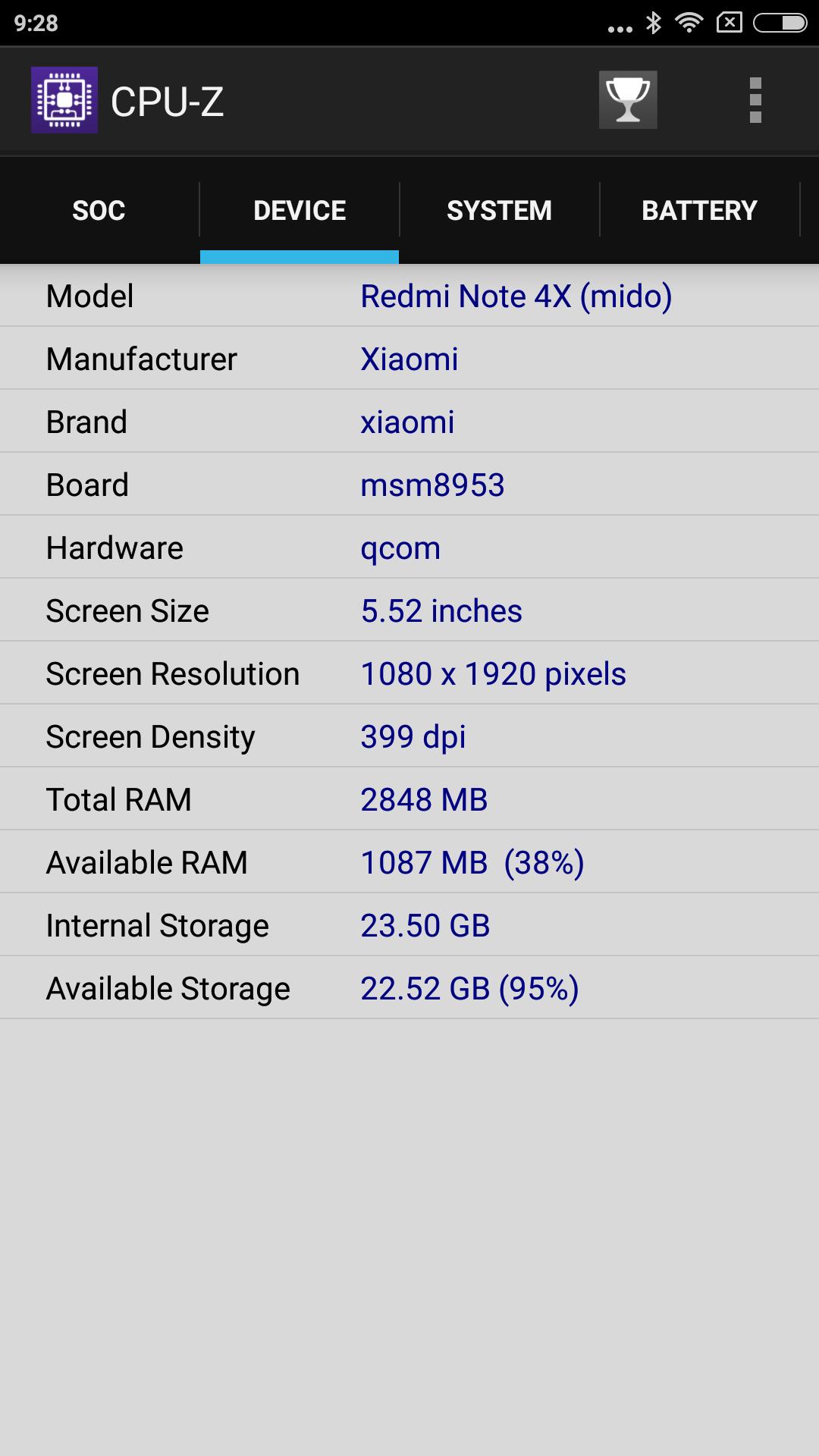 Xiaomi Redmi Note 4X CPU-Z Device