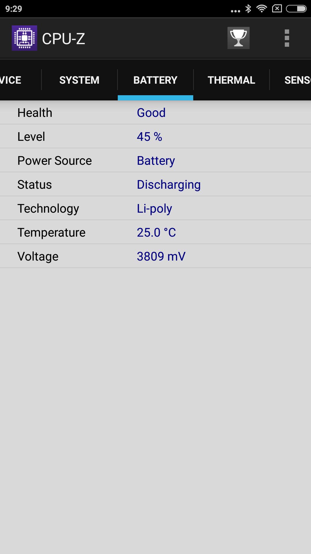 Xiaomi Redmi Note 4X CPU-Z Battery