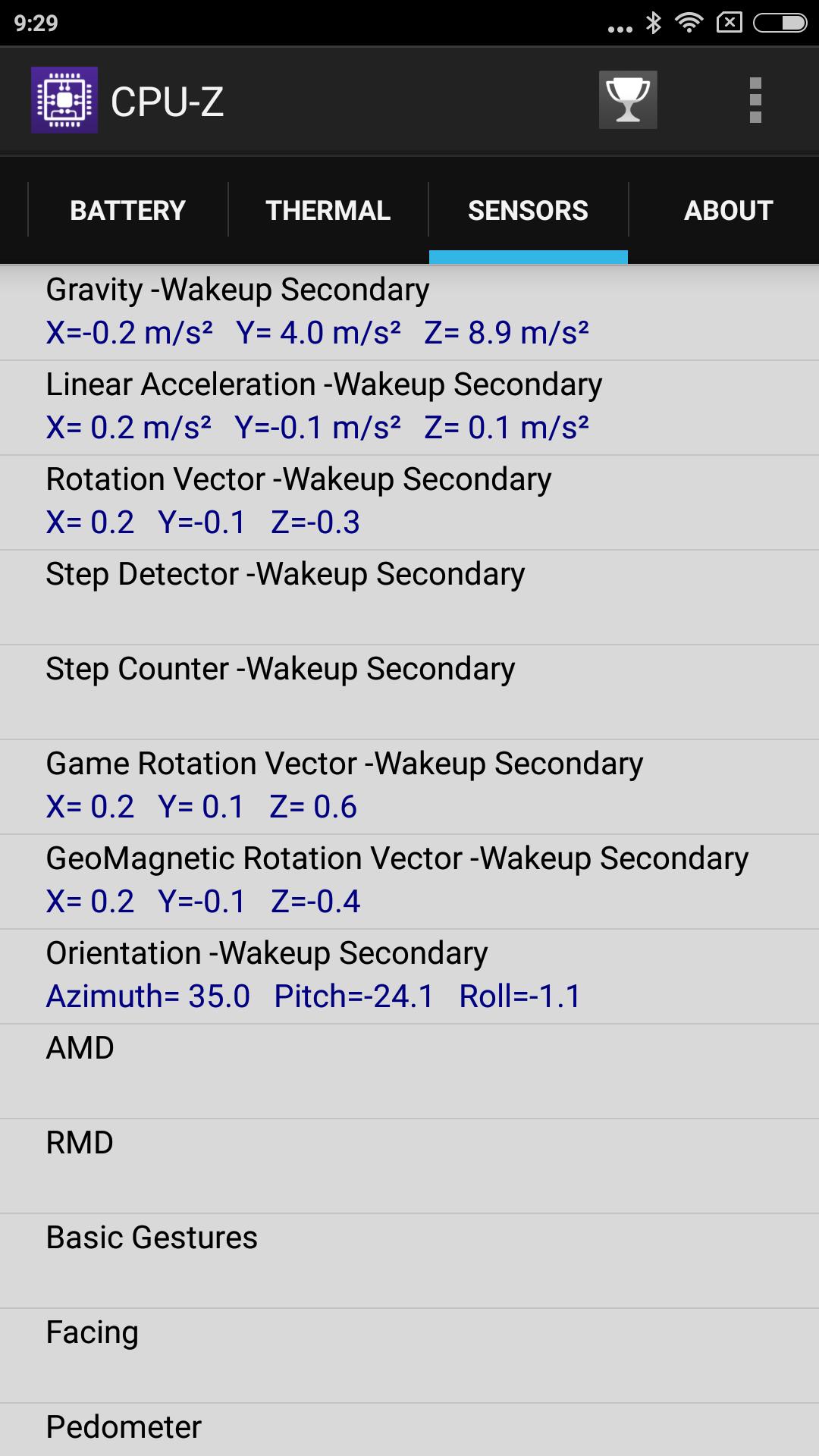 Xiaomi Redmi Note 4X CPU-Z Sensors 3
