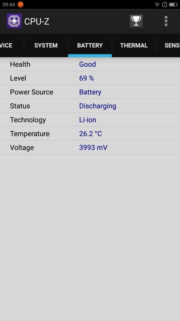 Lenovo ZUK Z2 Pro CPU-Z Battery