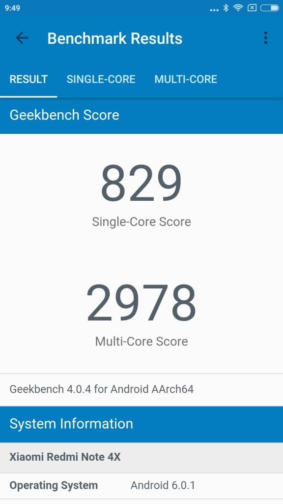 Xiaomi Redmi Note 4X GeekBench 829