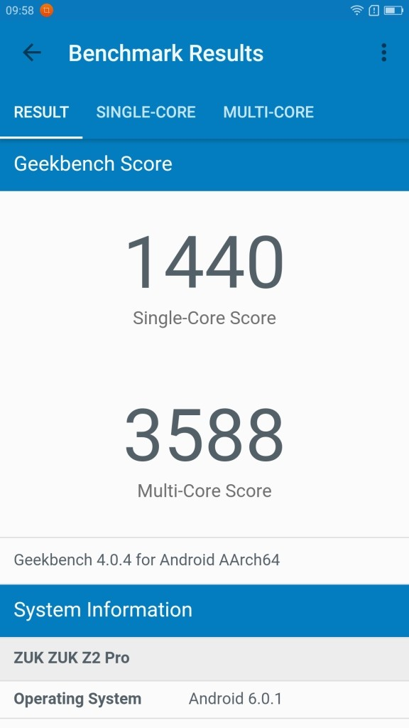 Lenovo ZUK Z2 Pro GeekBench 低い
