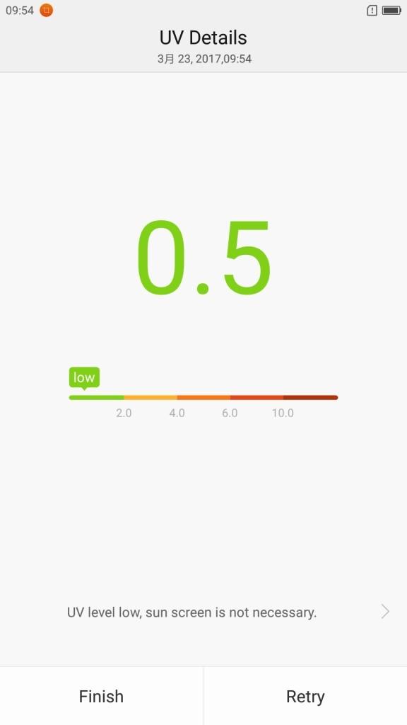 Lenovo ZUK Z2 Pro U Health ヘルスアプリ UVモニター 計測結果