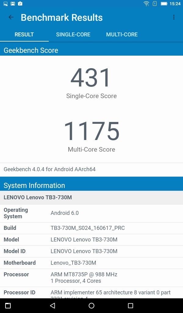 Lenovo TAB3 7(LTE) Geekbench 431