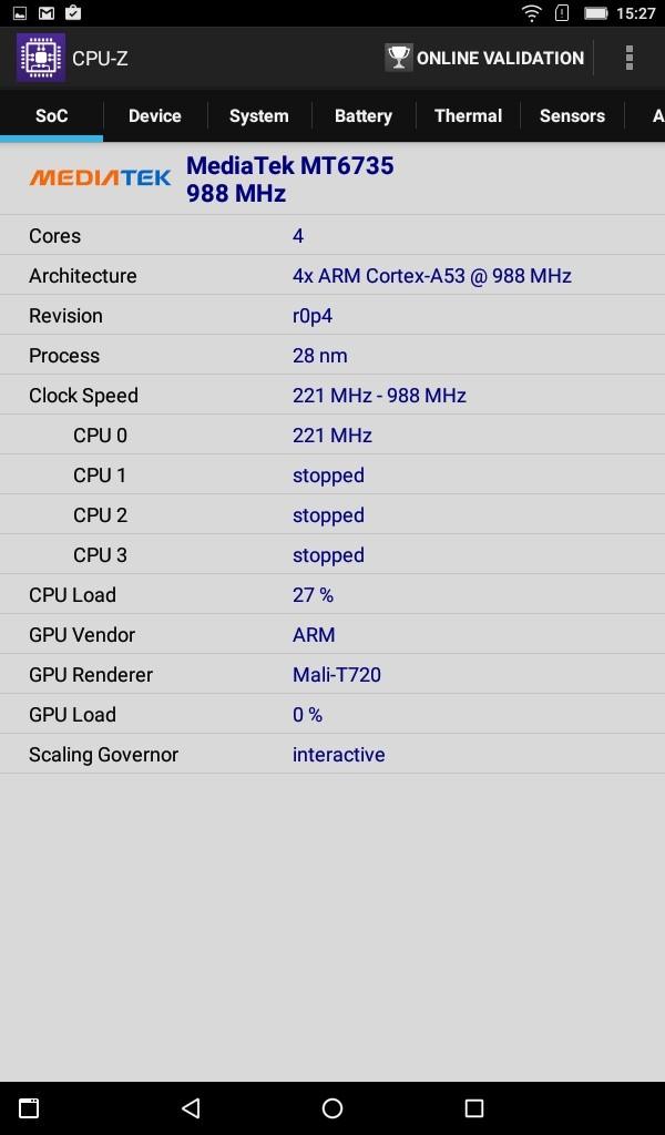Lenovo TAB3 7(LTE) CPU-Z CPU