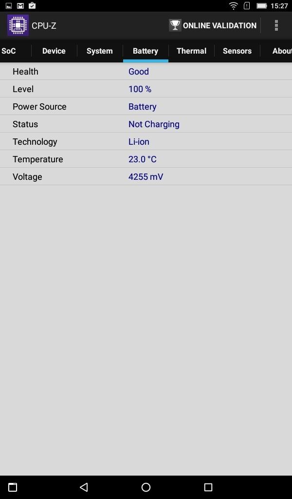 Lenovo TAB3 7(LTE) CPU-Z Battery
