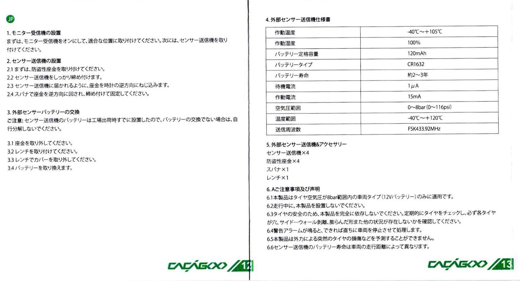 CACAGOO TPMS タイヤ空気圧監視システム 取説 12
