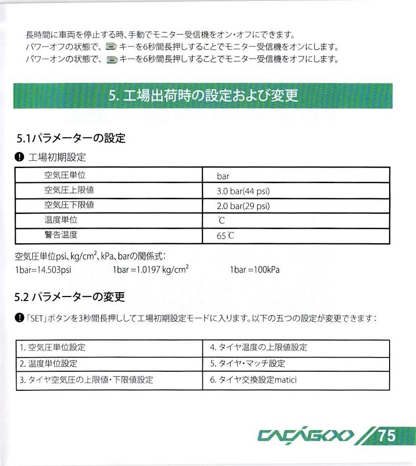 CACAGOO TPMS タイヤ空気圧監視システム 取説 75