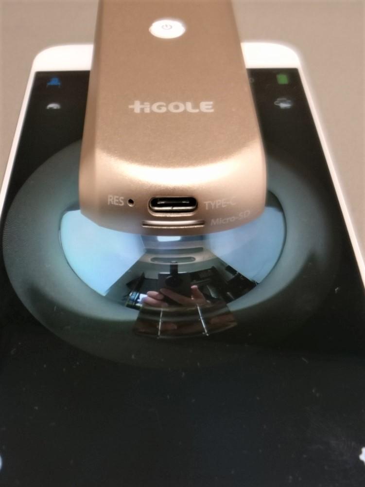 HIGOLE GOLE360 Panorama VR アクションカメラ OPPO R9装着 ディスプレイ面