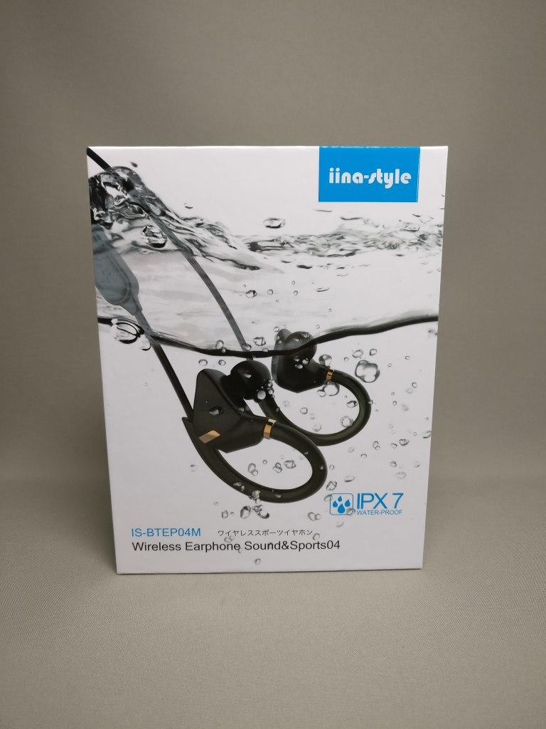 iina-style Bluetooth4.1CVD6.0 IPX7防水 イヤホン IS-BTEP04M 化粧箱 表