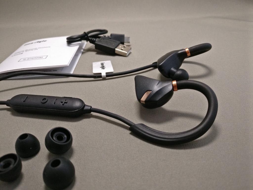 iina-style Bluetooth4.1CVD6.0 IPX7防水 イヤホン IS-BTEP04M 全部 付属品など ズーム