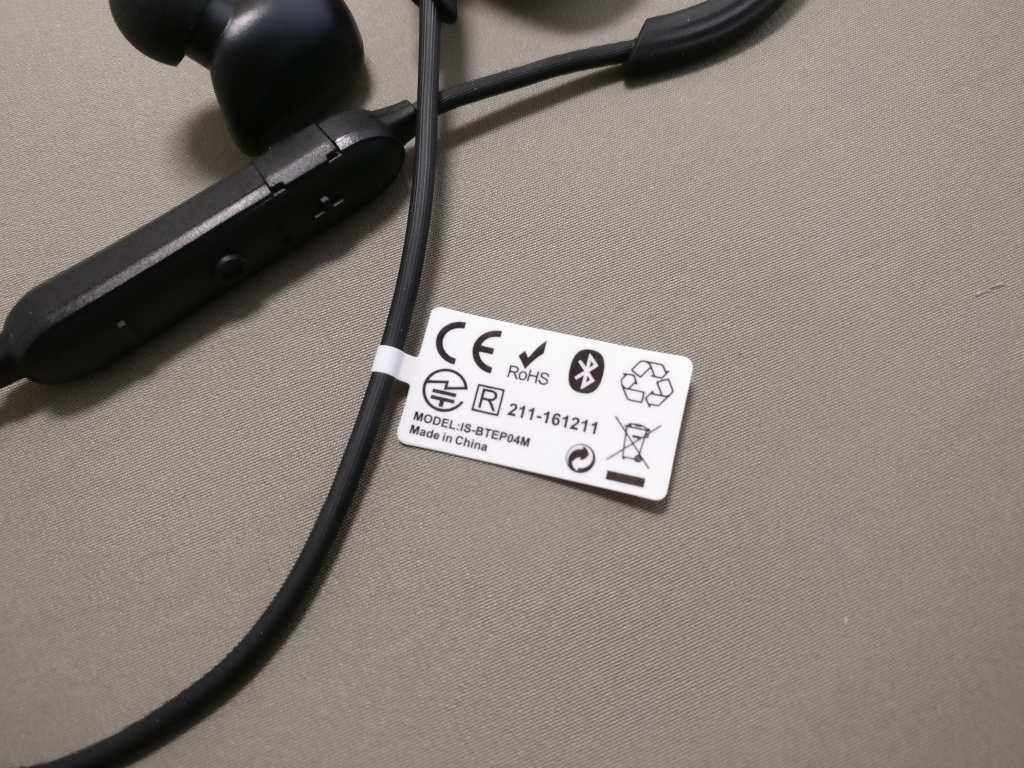 iina-style Bluetooth4.1CVD6.0 IPX7防水 イヤホン IS-BTEP04M 全部 付属品など タグ