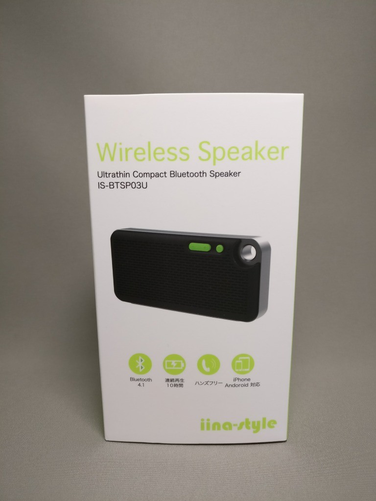 iina-style Bluetooth4.1スピーカー IS-BTSP03U 化粧箱 表