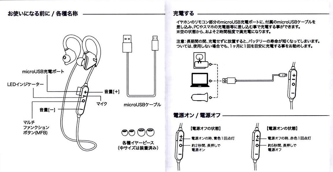 Bluetooth4.1CVD6.0 IPX7防水 イヤホン 1