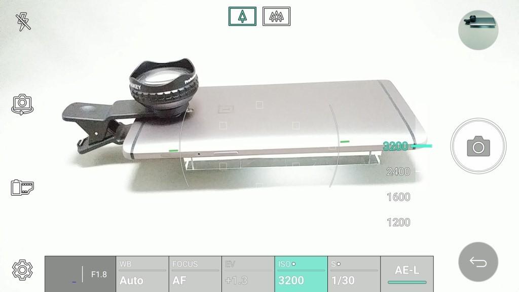 LG V20 Pro カメラ マニュアルモード ISO 3200