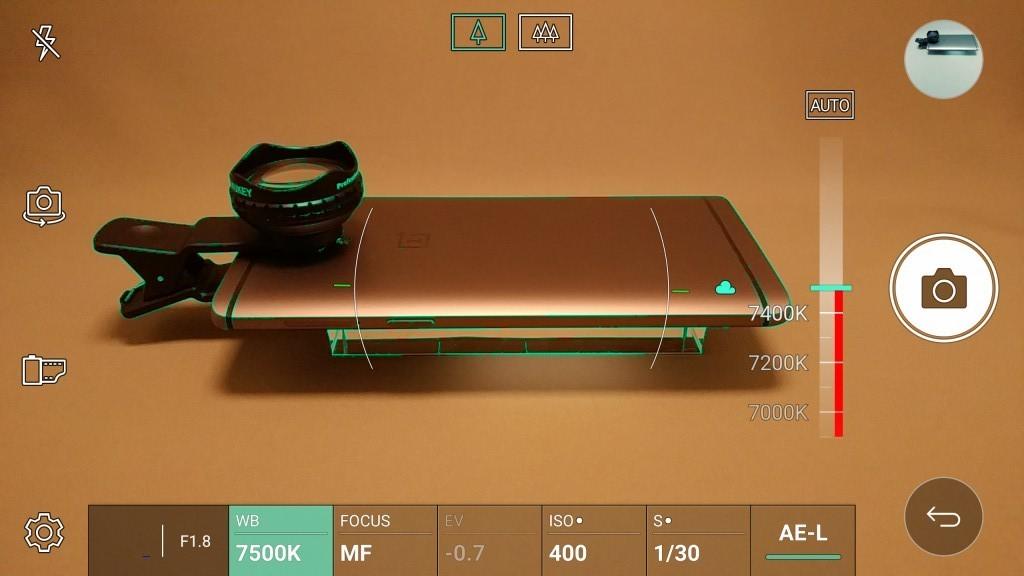 LG V20 Pro カメラ マニュアルモード WB 色温度 7500K