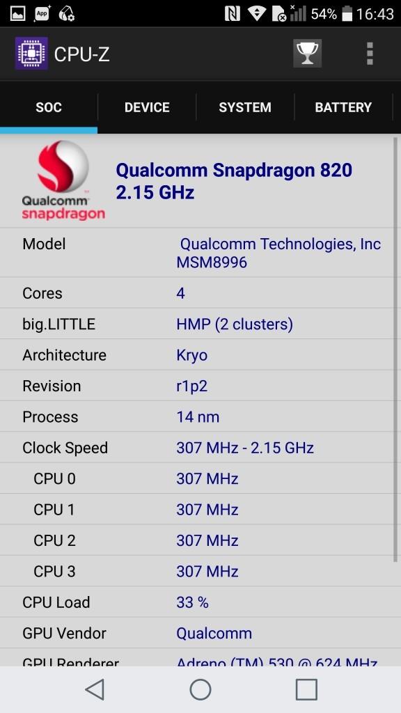 LG V20 Pro CPU-Z SOC