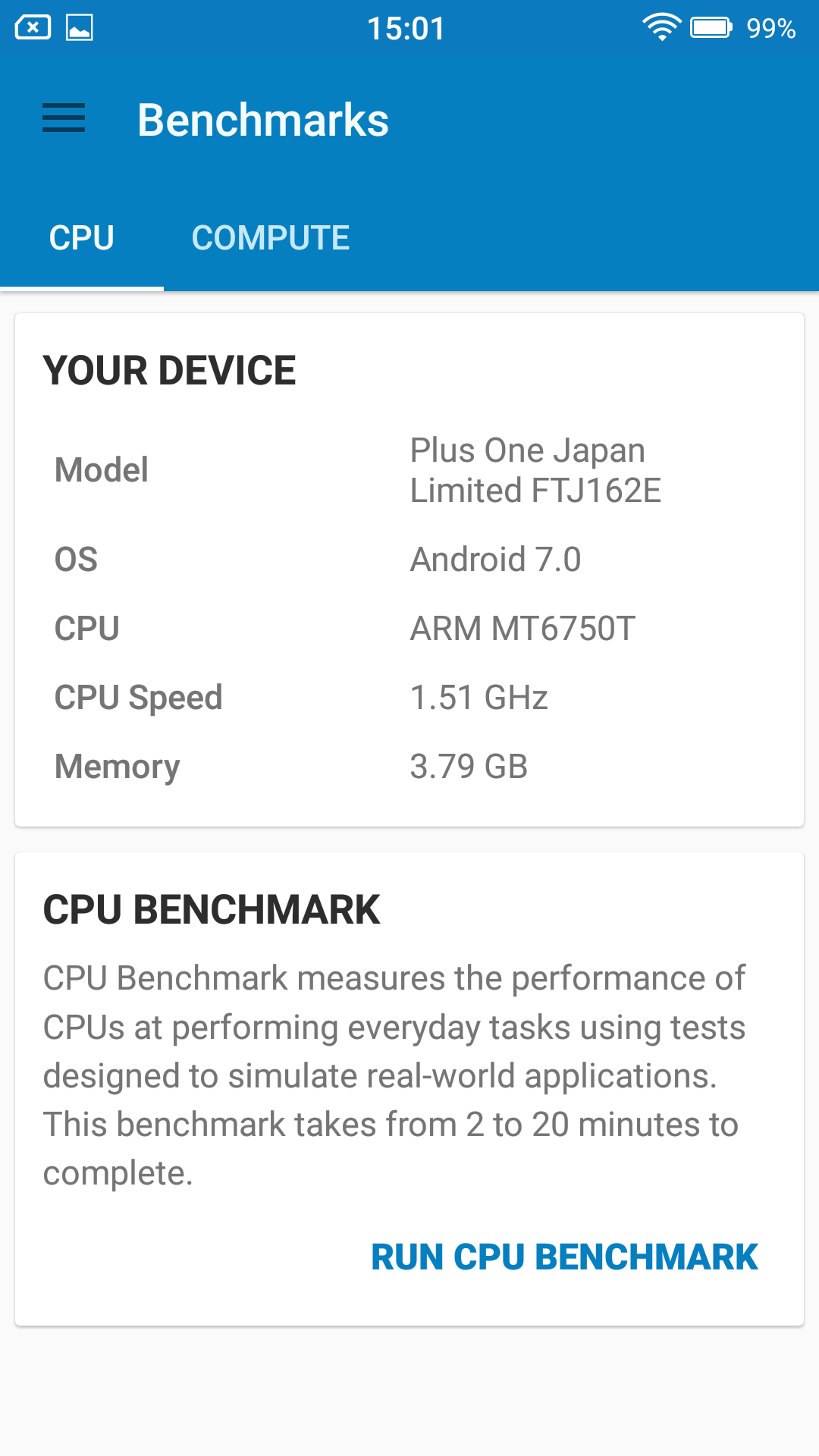 FREETEL RAIJIN Geekbench Device
