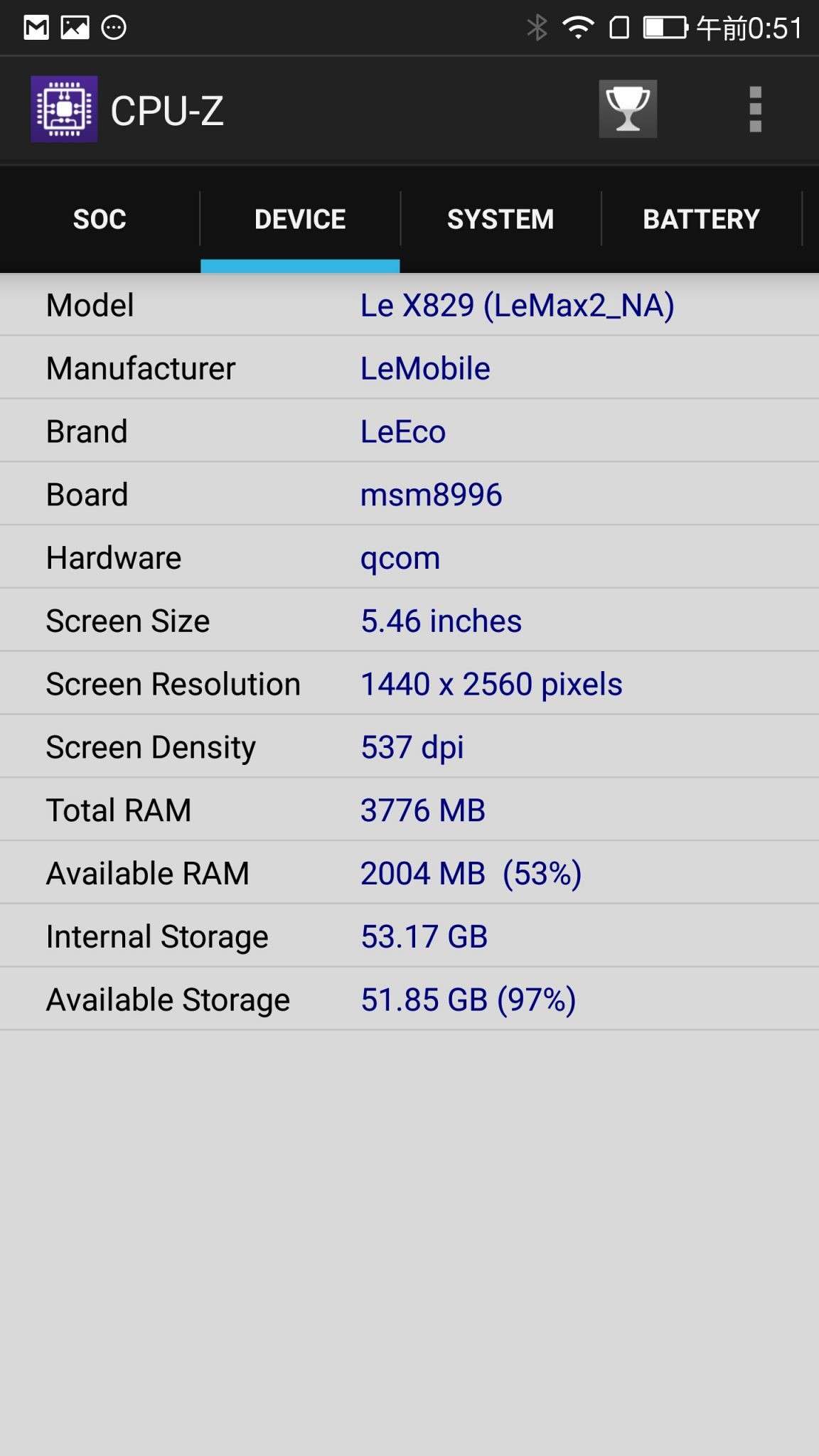 IMG_2017041aLeTV LeEco Le Max 2 X829 CPU-Z Device