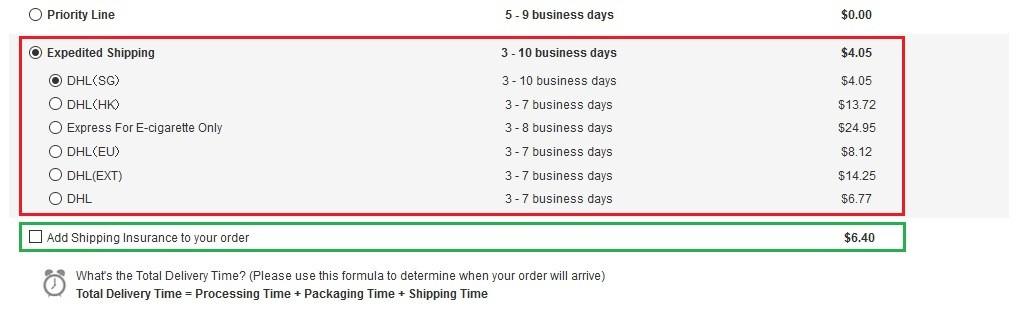 GearBest決済画面 赤枠Expedited Shipping、緑枠 保険