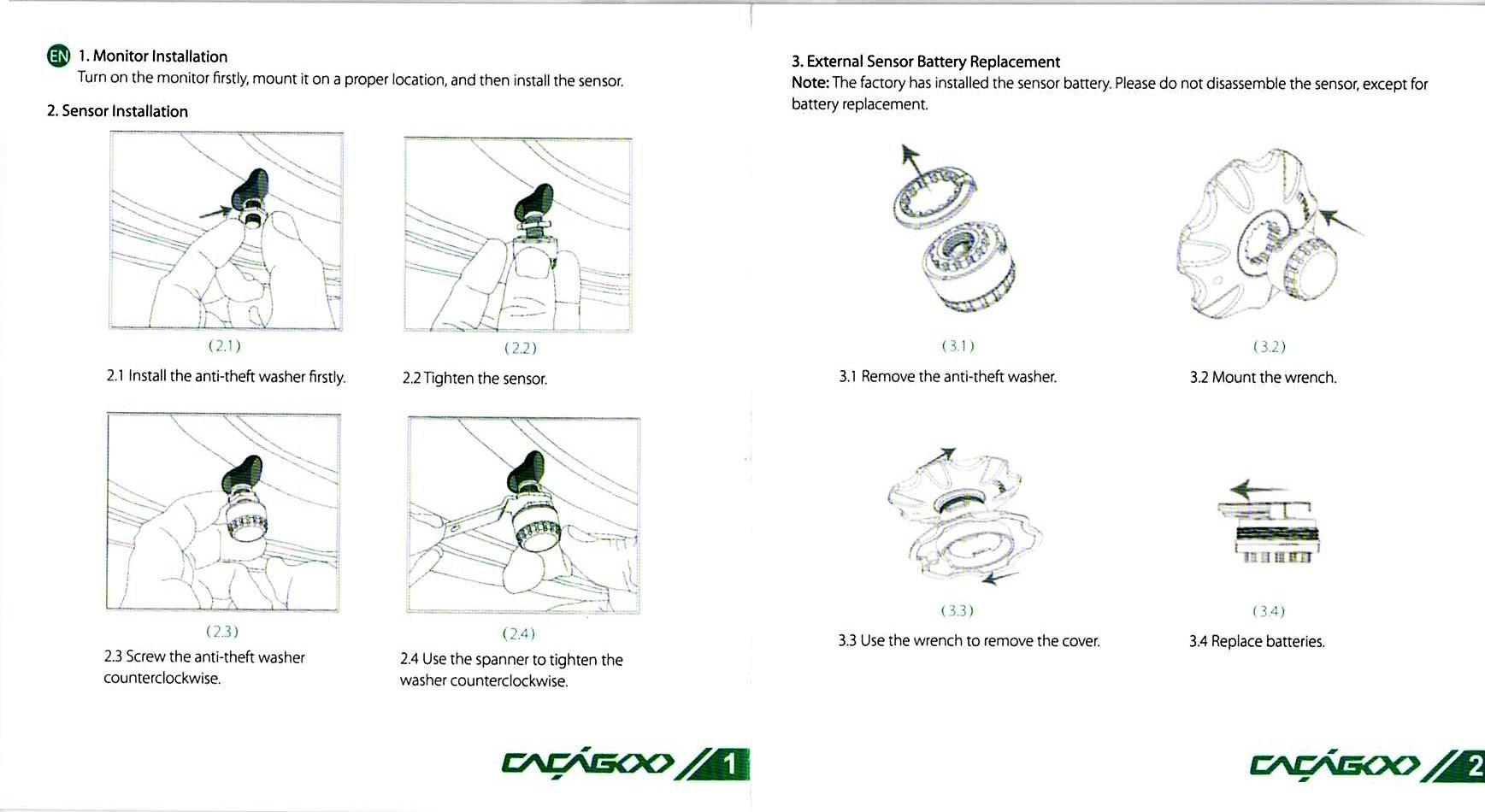 CACAGOO TPMS タイヤ空気圧監視システム 取説 1